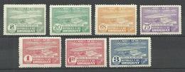 URUGUAY 1937/1940 Michel 569 - 570 & 573 & 575 - 578 * Rio-Negro-Stauwerk Flugpost-Marken - Uruguay