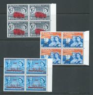 Grenada 1961 Stamp & Post Centenary Set Of 3 In Marginal Blocks Of 4 MNH - Grenada (...-1974)
