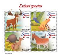 Sierra Leone 2019    Fauna Extinct Species  Deer, Frog , Zebra   S201904 - Sierra Leone (1961-...)