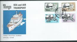 Tonga 1983 Transport Ship & Plane Self Adhesive Set 4 On FDC Official Unaddressed - Tonga (1970-...)