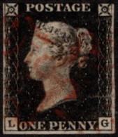 GBR SC #1 U (L,G) 1840 Queen Victoria P4 3-margins W/partially Sealed ~5mm Tear @ LL CV $325.00 - 1840-1901 (Victoria)
