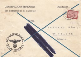 GG Schweiz Dienstbrief Warschau, Geschwärzter V-Stempel Nach St. Gallen, SELTEN - Besetzungen 1938-45