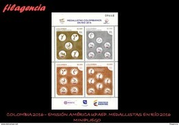 AMERICA. COLOMBIA MINT. 2016 EMISION AMÉRICA UPAEP. MEDALLISTAS OLÍMPICOS COLOMBIANOS EN RÍO DE JANEIRO. HOJA BLOQUE - Colombia
