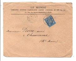 SAGE SUR LETTRE A EN TETE DE PARIS BOURSE 1878 - Marcofilia (sobres)