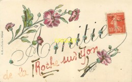 85 La Roche Sur Yon, Ancienne Fantaisie Avec Paillettes Collées, Amitiés, Oeillets - La Roche Sur Yon