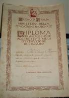 DIPLOMA D'AMMISSIONE AGLI IST. MEDI D'ISTRUZ. I° GRADO 1932 - Diplomi E Pagelle