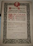 DIPLOMA D'AMMISSIONE ALLA IV CLASSE DEL GINNASIO 1933 GINNASIO G.CARDUCCI BAGHERIA-PALERMO - Diplomi E Pagelle