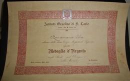 DUE ATTESTATI IST.ORSOLINE COMO ASSEGNAZIONE MEDAGLIA D'ARGENTO 1937/38-1938/39 - Diplomas Y Calificaciones Escolares
