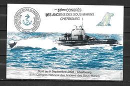 51è Congrès Des Anciens Sous-mariniers  - CHERBOURG - TàD LA CITE DE LA MER 17/07/02 - Postmark Collection (Covers)
