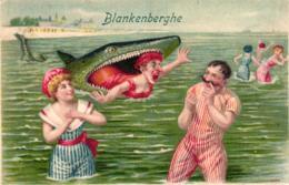 Blankenberge / Blankenberghe, Meer, Badende Menschen, Raubfisch, Um 1905/10 - Blankenberge