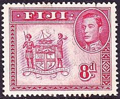 FIJI 1948 KGVI 8d Carmine SG261c FU - Fiji (...-1970)