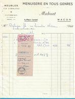 1957 MENUISERIE EN TOUS GENRES MAHUET 8 PLACE CARNOT MACON MEUBLES SUR COMMANDE - 1950 - ...