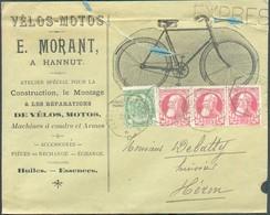 N°74(3)-83 Obl. Télégraphique De FEXHE-le-HAUT-CLOCHER Sur Enveloppe Ullustrée (VELOS-MOTOS E. MORANT A HANNUT, Machines - 1905 Barba Grossa