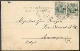 10 Para (x2) Type Germania, Obl; Sc SMYRNE DEUTSCHE POST Sur CV Du 8-1-1907 Vers Anvers (Belgien) - 14363 - Deutsche Post In Der Türkei