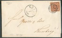 4sk. Brun TB Margé, Obl. Concentrique 76 Sur Enveloppe De VEILE Le 24/7 1860 Vers Fonseborg - 14362 - Lettres & Documents