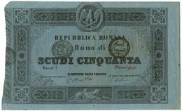 50 SCUDI REPUBBLICA ROMANA BONO 18/04/1849 BB - Altri