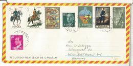 CANARIAS SOBRE TURISTICO MAT CEM SELLOS UNIFORMES AVION CARABELA NAVIDAD ARTE - 1931-Hoy: 2ª República - ... Juan Carlos I