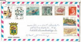 CANARIAS SOBRE TURISTICO CC MASPALOMAS SOLDADO CANGREJO ALTAMIRA ARTE NATACION ARQUITECTURA - 1981-90 Cartas