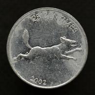 Congo 25 Centimes 2002, Km83, Animal Coin - African Wild Dog, Lion - Congo (Repubblica Democratica 1998)