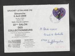 """FRANCE / 2010 / Y&T N° AA 387 : """"Coeur"""" Lanvin 0.90 € Adhésif De Feuille) - Sur Pli 2010 04 12 - 1961-...."""