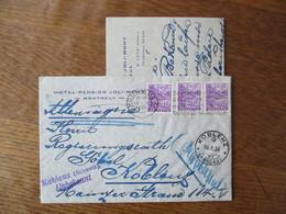 KOBLENZ 16.X.36 VI (AARGAU) MONTREUX 15. X 1936 KOBLENZ (SCHWEIZ) UNBEKANNT HOTEL-PENSION JOLI-MONT MONTREUX E. LUTZ PRO - Postmark Collection