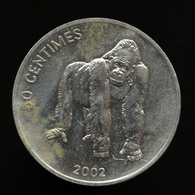 Congo 50 Centimes 2002, Km79, Animal Coin - African Gorilla, Lion - Congo (República Democrática 1998)