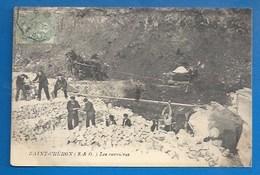 91 - SAINT-CHÉRON -  TRAVAIL DANS LES CARRIÈRES - 1906 - Saint Cheron