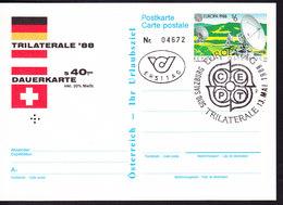 AUTRICHE, ENTIER POSTAL OBL EUROPATAG 88, TRILATERALE, TYPE TIMBRE EUROPA DE 1988. (36) - Entiers Postaux