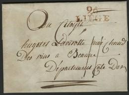 """1799 """"96 / LIEGE"""" (29 X 12.5) En Rouge S/ Lettre Datée Du 10 Ventose An 7 (28 Février 1799) Et Adressée à Beaune. - 1794-1814 (French Period)"""