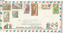 SOBRE TURISTICO SELLOS UIT AVION CARABELA CAMINO SANTIAGO TELECOM GRAN CAPITAN MILITAR - 1961-70 Usados