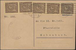 Dienst 33 Ziffer 5 M MeF Postkarte Nürnberg 24.1.1923 N. Schwabach/Pfarrstelle - Deutschland