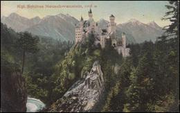 Ansichtskarte Kgl. Schloss Neuschwanstein, HOHENSCHWANGAU 17.8.08 Nach Augsburg - Deutschland