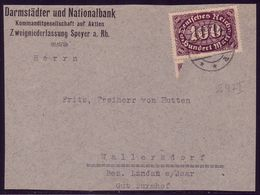 247I 100 Mark - PLF I: Strich Am M, Auf Briefausschnitt - Abarten