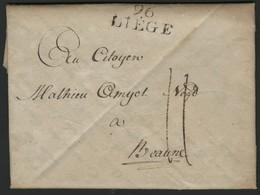 "1800 ""96 / LIEGE"" (29*12.5) En Noir S/ Lettre Datée Du 17 Ventose An 8 (8 Mars 1800) Et Adressée à Beaune. - 1794-1814 (Französische Besatzung)"