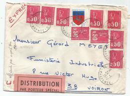BEQUET 50CX9+ 20C BLASON LETTRE DISTRIBUTION PAR PORTEUR SPECIAL COGNAC 24.1.1972 POUR VOIRON - 1971-76 Marianne De Béquet