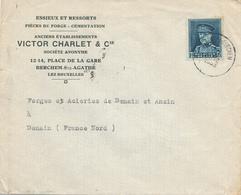368/29 - Enveloppe TP Képi ST AGATHA BERCHEM 1933 Vers DENAIN  - Entete Victor Charlet § Cie , Essieux Et Ressorts - 1931-1934 Kepi
