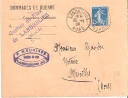 Nord :- LANDRECIES Dateur Type A4 En Tete DOMMAGES DE GUERRE - Guerre De 1914-18