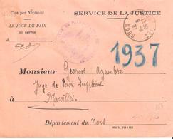 Nord :- LANDRECIES Dateur Type A4 En Franchise LE JUGE DE PAIX - Guerre De 1914-18