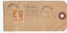 SEMEUSE 25C BISTRE SEUL AU VERSO ETIQUETTE DE COLIS MECANIQUE MONTREUIL 19.1.1929 - Marcophilie (Lettres)