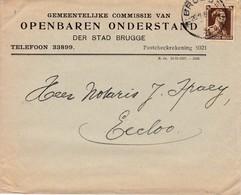 371/29 - Enveloppe TP Col Ouvert BRUGGE 1938 Vers EECLOO - Entete Commissie Van Openbaren Onderstand Stad BRUGGE - 1936-1957 Open Kraag