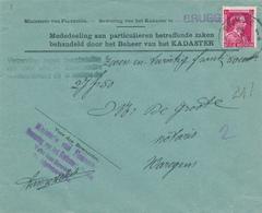 372/29 - Enveloppe TP Col Ouvert Ou Lion V BRUGGE - Verzending Tegen Terugbetaling - Entete Kadaster Van BRUGGE - 1936-1957 Open Kraag