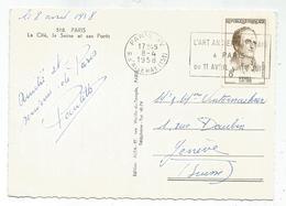 PINEL 8FR SEUL CARTE 5 MOTS PARIS XV 8.4.1958 POUR SUISSE RARE AU TARIF - Marcophilie (Lettres)