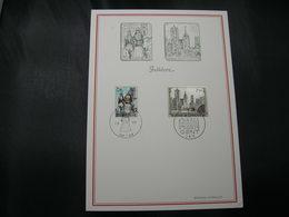 "BELG.1971 1593 & 1594 FDC Filatela Card "" Ath & Gent "" - FDC"