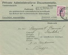 373/29 - Enveloppe IMPRIME TP Petit Sceau 10 C BRUGGE 1943 - Griffe D'origine BEERNEM - Entete Vandewinckele - Poststempels/ Marcofilie