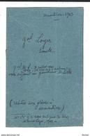 GREVES D'ARMENTIERES ( 1903 ) - Lettre ( Correspondance Seule ) Du Général Emile Loyer , Datée 1.11.1903 ( 4 P. ) - Autogramme & Autographen