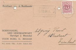 375/29 - Carte Privée TP Lion Héraldique BRUGGE 1952 - Entete Boekhandel Lescrauwaet , Opvolger Marechal , Brugge - België
