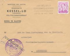376/29 - Belgique ESPERANTO + POLICE - Enveloppe TP Lunettes LEUVEN 1966 Congres Esperanto - Politie KESSEL-LO - Esperanto