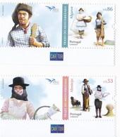Portugal 2019 Algarve Alentejo EURO Med Trajes Mediterrâneo Pastor Ceifeira Pescador Salineira Métiers Selos Stamps - 1910-... République
