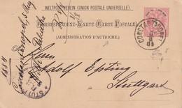 LEVANT AUTRICHIEN 1884     ENTIER POSTAL/GANZSACHE/POSTAL STATIONERY CARTE DE CONSTANTINOPLE - Eastern Austria
