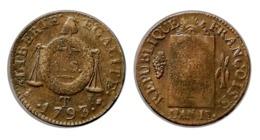 SOL à La Balance 1793 T (Nantes) - 1789-1795 Monnaies Constitutionnelles